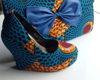 Beautifully Patterned African Handmade Wedge Shoe and Clutch Set