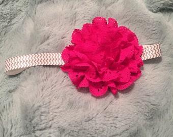 Fuschia flower headband