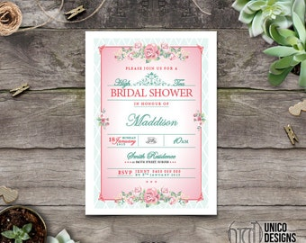 Floral High Tea Bridal Shower / High Tea Invitation Printable / Vintage Bridal Shower