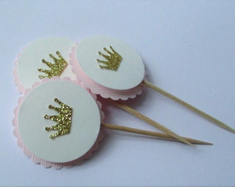 12 Crown Cupcake Toppers