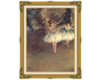 Framed Canvas Art Print Two Dancers on the Stage Edgar Degas Ballet Ballerina Dancing Painting Reproduction - Sizes Small to Large - M01328