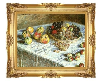 Framed Art Print Still Life Apples and Grapes Claude Monet Canvas Fruit Painting Reproduction - Small to Large Sizes - M00213