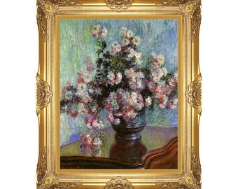 Chrysanthemums Claude Monet Painting Reproduction Framed Canvas Art Print Vase of Flowers - Small to Large Sizes - M00042