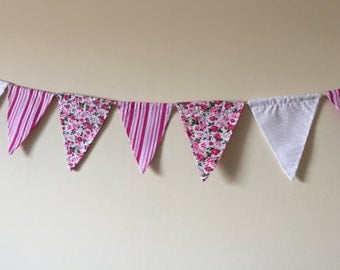 Pink Floral and Stripy Bunting 10 Flags Double Sided Sided
