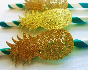 10 Pineapple Paper Straws!