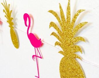Pineapple and Flamingo Garland- Luau Party!