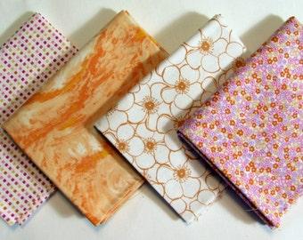 4 Fat Quarters, Orange to Peach Fabric Bundle 244