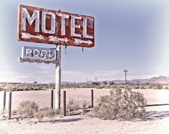Sign Photography Motel Pool Sign Googie Wall Art Graphic Typography Route 66 Sign Route 66 Photography Retro Wall Art Abandoned Motel Sign