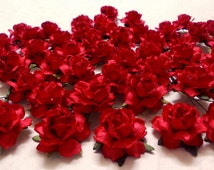"25 Paper Flowers (Size 1"") Mulberry Paper Craft flower, Paper flower craft wedding, Wedding, Events, Bouquets and Crafts, Red Paper Roses."