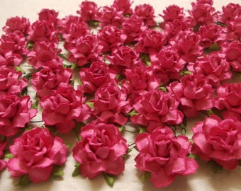 "10 Paper Flowers (Size 1"") Mulberry Paper Craft flower, Paper flower craft wedding, Wedding, Bouquets and Crafts, Fuchsia Pink Paper Roses."