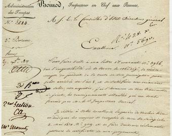 Napoleonic officer Jean Boinod signed letter December 14, 1811