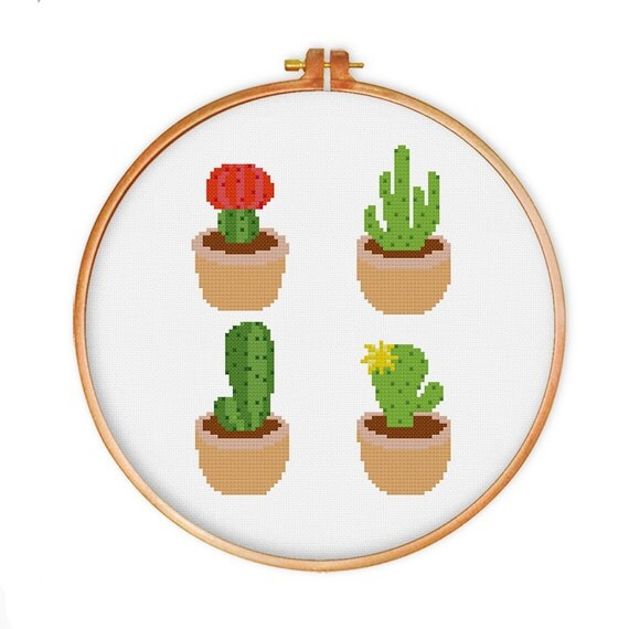 cactus croix broderie motif point de croix moderne par. Black Bedroom Furniture Sets. Home Design Ideas