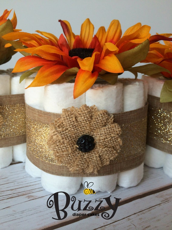 Shabby chic fall sunflower burlap mini diaper by