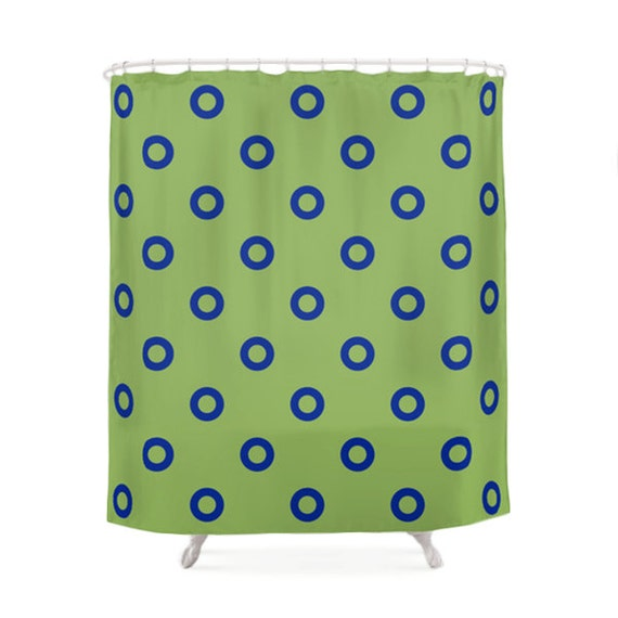 Funny green and blue shower curtain 5 patterns options - Green curtain patterns ...