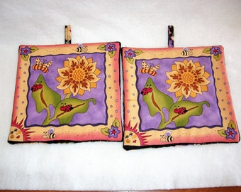 Set of 2 Whimiscal Sunflower Potholders