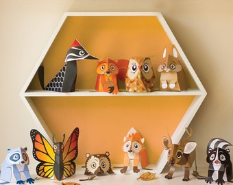 Woodland Animal Toys  / Printable Kids Gift DIY Papercraft Kit / INSTANT DOWNLOAD - by Kooee Papercraft