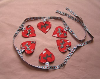 Red, scottie dog, bunting, heart shaped, hand stitched, garland