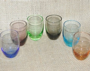 6 vintage 1960s harlequin liqueur sherry port shot glasses