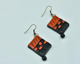 Orange and Black Clay earring