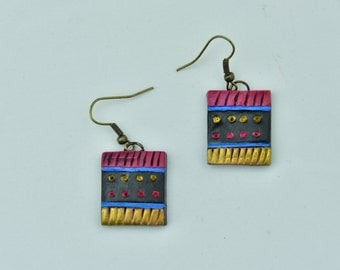 Pink-Yellow-Blue Clay Earring