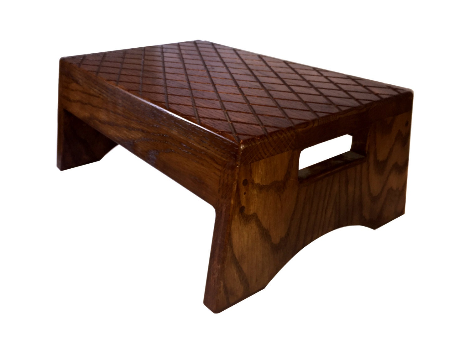 Wood Step Stool Solid Hardwood With Handle By