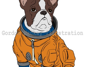 Dog in a Spacesuit Illustration Print
