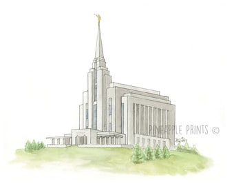 Rexburg Idaho Temple LDS  - Watercolor Print
