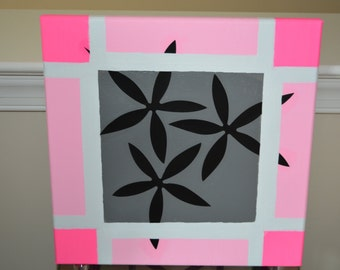 """12""""x12"""" Stretched Canvas painted in Pink and Gray"""