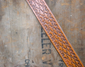 Hand Tooled Basket Weave  Leather Belt