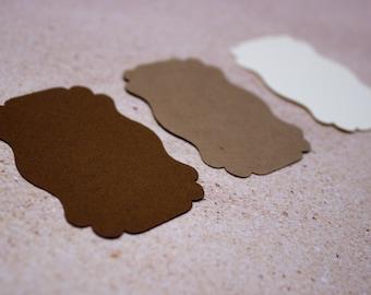 Brown Die Cut Bracket Labels - MULTIPLE COLORS - DIY Die Cut Tags - Card Stock Label - Scrapbooking