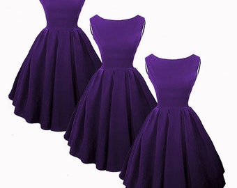 Elisa  Audry Hepburn inspired 50s Style Bridesmaid Dresses in Purple.