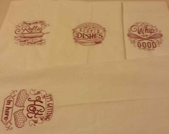 Set of 4 Embroidered Commercial Flour Sack Towels 30x30