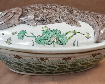 Chinese porcelain Koi fish form soup tureen or box.