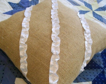 Burlap Ruffle Ring Bearer Pillow