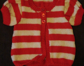 Baby girls hand knitted dress