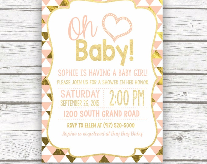 Oh Baby Peach and Gold Foil Baby Shower Invitation w/ Matching Back, Triangle Print Girl Baby Shower, Printed or Printable Invitation