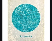 Florence Map - Print - Florence - Wall Art - Poster - Circle Map - Vintage