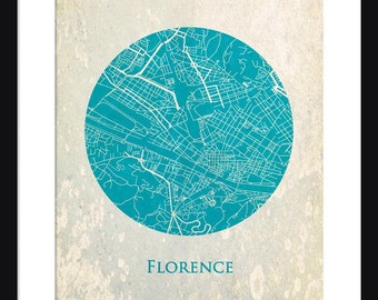 Florence Map - Print - Florence - Wall Art - Poster - Circle Map - Vintage