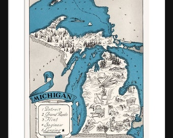 Michigan Map - Map of Michigan - State Map - Vintage Map - Poster - Print - Pictorial - Cartoon Map