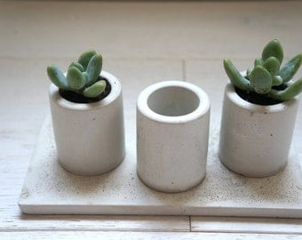 Sale 20%! Concrete Mini Planters Set with the Tray. Set of 3