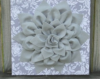 Gray Damask Wall Art, Gray Flower, Dahlia Flower, Gray, Flower, Wall Art, 12x12, Canvas Wall Art