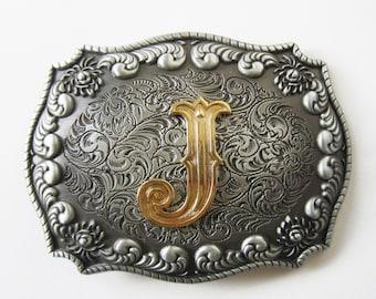"Initial Letter ""J"" Western Cowboy Rodeo Belt Buckle"