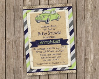Vintage Car Baby Shower Invitation - printable 5x7