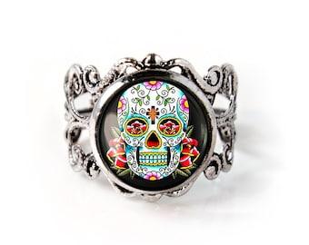 Antique Silver Day of the Dead Sugar Skull Adjustable Filigree Ring 55-SFRR