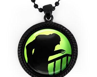 Jet Black Nosferatu Vampire Silhouette Glass Pendant Necklace 79-JBRN