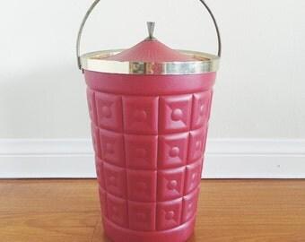 Vintage Lustroware Red Ice Bucket - Mod