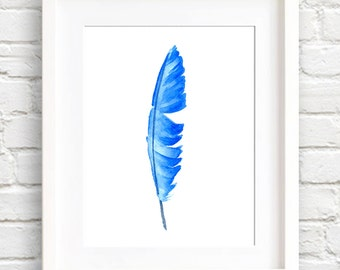 Blue Feather Art Print - Wall Decor - Watercolor Painting