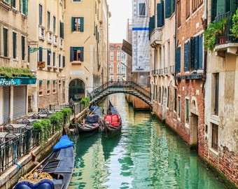 Gandolas in Canal, Venice, Italy, Landscape Photography, Wall Art