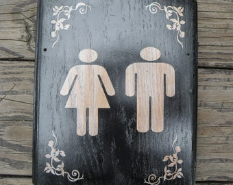 Silver Bathroom Sign - Shipping Included