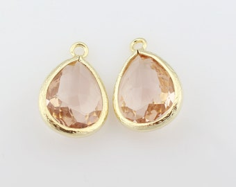 G000304P/Light Peach/Gold plated over brass/Drop faceted glass pendant/11.4mm x 17.1mm /2pcs
